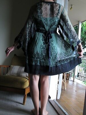 Vintage Mint Green and Navy Sequin Bohemian Dress Size Small 10 - 12