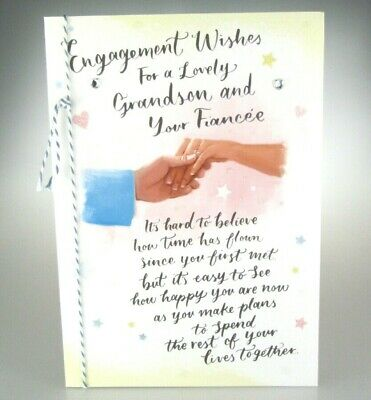 Congratulations Card. Engagement Wishes For a Lovely Grandson and Your Fiancée