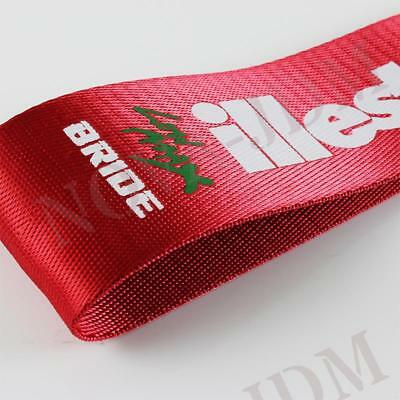 JDM High Strength Bride ILLEST Tow Strap for Front Rear Bumper Towing Hook - Red