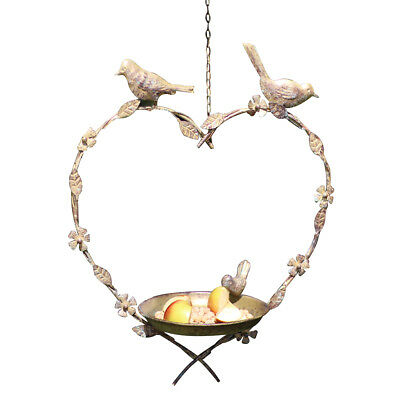 Hanging Heart Garden Bird Seed & Nut Dish Wild Birds Feeding Station