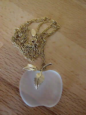 Avon vintage frosted clear glass apple pendant necklace, signed, goldtone, NWOT