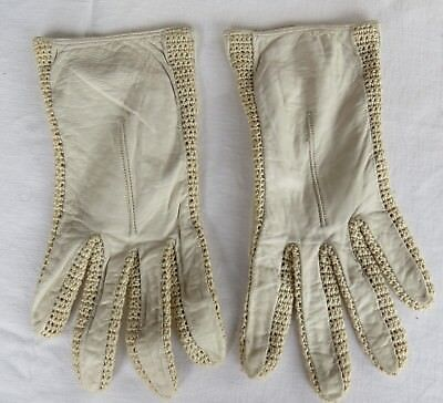 Vintage LEATHER and CROCHET Cream GLOVES - Size 6.5