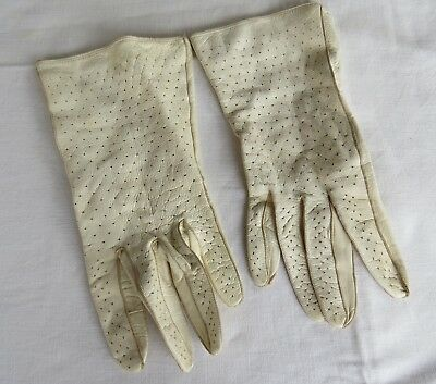 Vintage LEATHER Cream GLOVES - Size 7