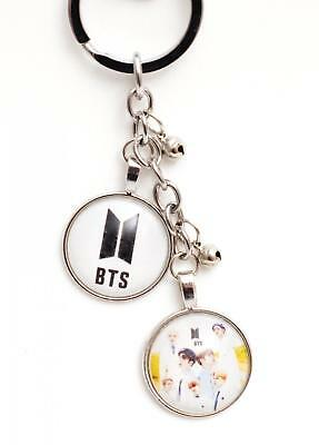 K-pop BTS Bangtan Boys Metal Pendant Keyring Key Chain - White  Logo