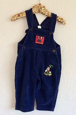 Vintage Kids Mickey Mouse Disney 90s Cord Overalls Unisex Dungarees 12 18 M