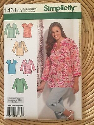 SIMPLICITY 1461 SEWING Pattern Plus Sizes 20-28 Tunic Tops Blouses ...