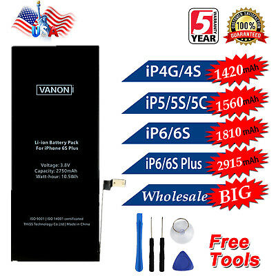 Replace Internal Battery for iPhone 4 4s 5 5s 6 6s Plus + Tools Kit OEM Quality
