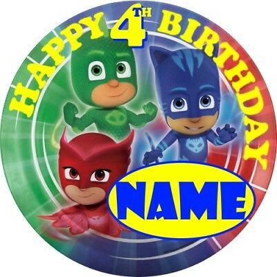 Pj Mask Childrens Personalised Name Birthday Badge ** Party Bag Fillers