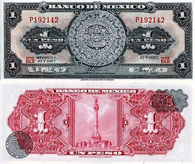MEXICO 1 Peso Banknote World Paper Money UNC Currency Pick p59j Bill Note