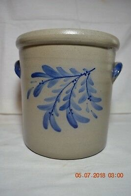 Rowe Pottery Works Stoneware Salt Glazed Blue Decorated Crock