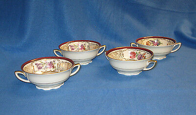 4 R M Czechoslovakia China 2 Handle Cream Soup Bowls, Pattern 6066 Maroon Floral