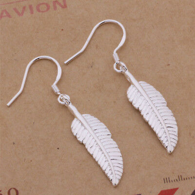 925 Sterling Silver Plated Boho Feather Hook Earrings + Free Gift Bag.