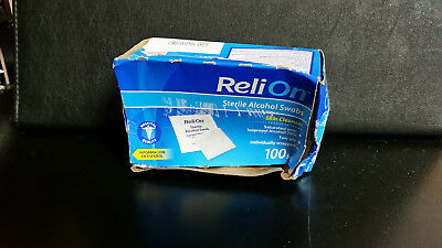 Reli On 100 STERILE ALCOHOL SWABS PREP PADS skin antiseptic ISOPROPYL