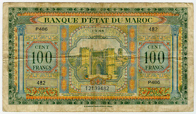 MOROCCO 1944 ISSUE 100 FRANCS VERY CRISP NOTE VF.PICK#27a.