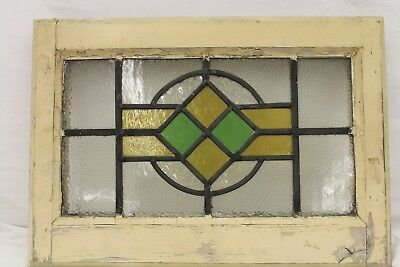 Antique VINTAGE Stained Glass Wooden Window