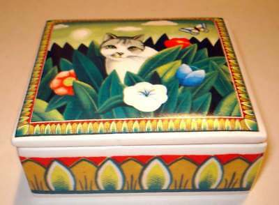 "NEW Ceramic Trinket Box  3 1/4"" x 3 7/8"" MAJESTIC CATS Item #15100 Indonesia"
