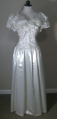 Vtg 1940s Ivory Satin Wedding Party Dress Ball Gown Corset Lace Bodice Ruffles M