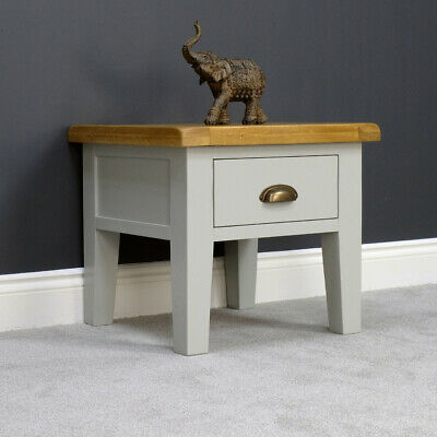 Arklow Painted Oak Lamp Table / Grey Side Table With 1 Drawer / Large 55cm Top