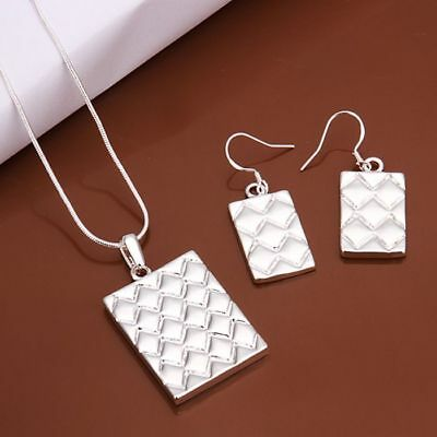 925 Sterling Silver Plated Necklace & Stud Earrings Set + Free Gift Bag.