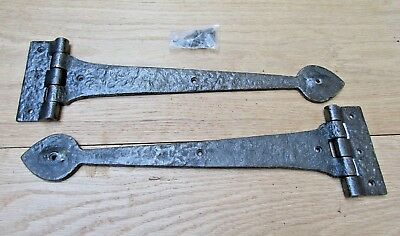 PAIR OF SPEAR HEAD cast iron door t tee hinges old English cottage style