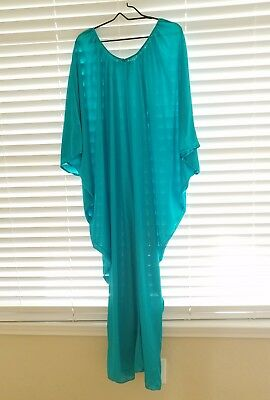 VINTAGE BATWING COCOON HiPPiE HOSTESS CAFTAN NYLON GOWN NIGHTGOWN ONE SIZE PETIT
