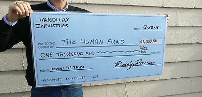 "Large Dry Erase Blank Presentation Check, Reusable Big Checks 18"" x 36"""