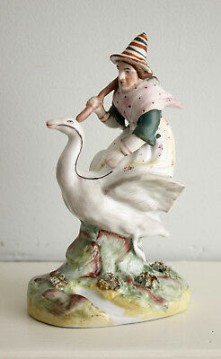 An Unusual c19th Antique Victorian Staffordshire Figure: a Witch Riding a Swan
