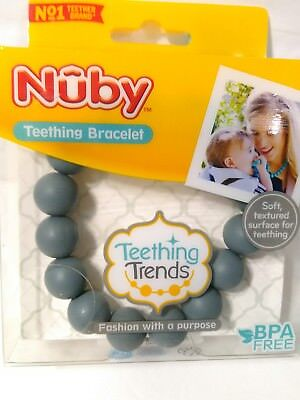 Nuby Teething Trends Teething Silicone Bracelet Gray Free Shipping