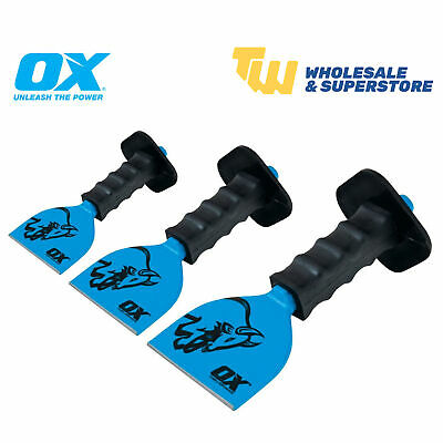 """OX Tools Bolster Chisel Rubber Guard for Brick Masonry Various Sizes 2 1/4"""" & 4"""""""