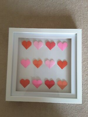 Handmade Origami Hearts In Box Picture Frame Wedding Engagement