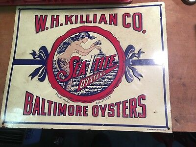 Vintage Embossed Metal Sign W.h. Killian Co. Sea-L-Tite Oysters Brand ~Soda Gas