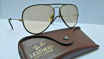 VINTAGE B&L RAY BAN 58[]14 BROWN LEATHERS / GOLD SUNGLASSES w/Case