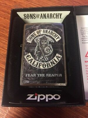 Zippo Sons Of Anarchy Black Matte Grim Reaper Lighter, 28504, New In Box