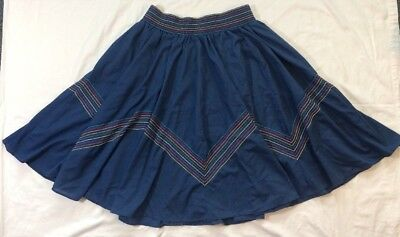 Malco Modes Vintage Chevron Embroidered Circle Skirt Square Dance M