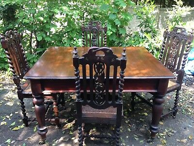 Large Victorian Mahogany Dining Table With 4 Stunning Victorian Carved Chairs