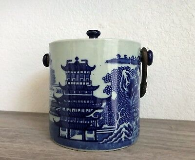 Antique Asian Style Victoria Ware Ironstone Jar with Lid and Bamboo Handle