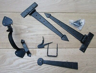 Pair of HAND FORGED IRON door t tee hinges + latch set old English cottage style