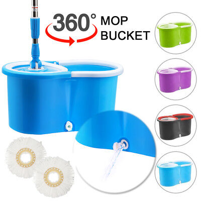 Adjustable Spin 360 Degree Rotating Spinning Mop Bucket Handle +2 Cleaning Heads