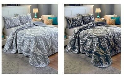 Damask Quilt Set Full/Queen or King Size Black Gray Light Weight Reversible NEW