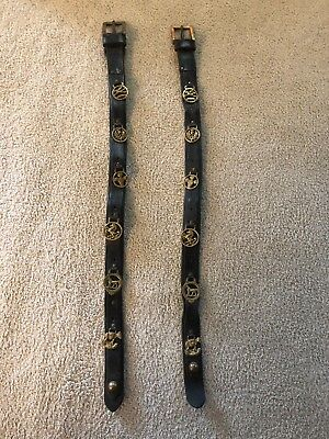 Pair of identical English Victorian Martingales - Leather Belt & Brass Ornaments