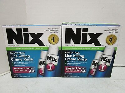 2 Nix Family Pack Lice Killing Creme Rinse  Expires: 05/2019+ Mm 11361