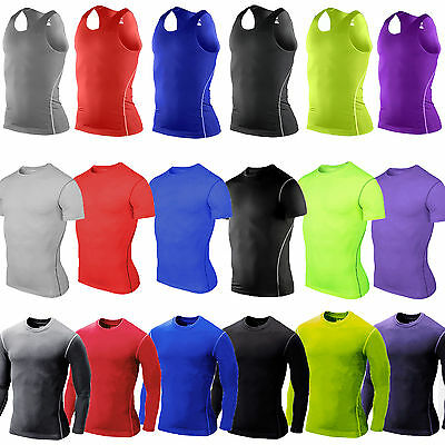 Men's Compression Under Armour Base Layer Gym Thermal Tights Shirts Tops T-Shirt
