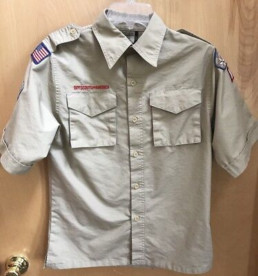Boys Scouts Of American Tan Short Sleeve Uniform Shirt Youth Large