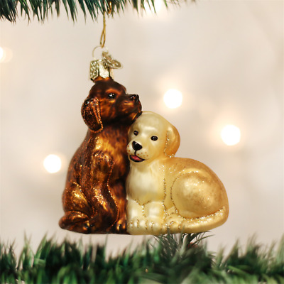 Old World Christmas Puppy Love Glass Christmas Ornament 12321