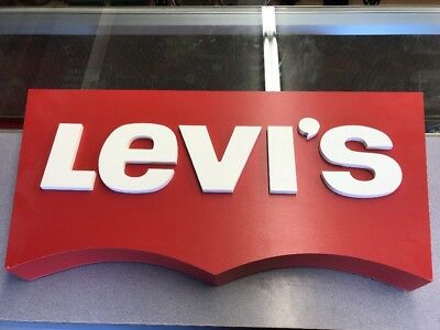 """Levi's Advertising Sign Display Wall Hanging Denim Jeans Red White Badge Ad 30"""""""