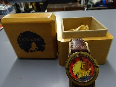 Mens Vintage Pedre Disney Lion King Watch - Circle of Life Seconds -New WOOD BOX