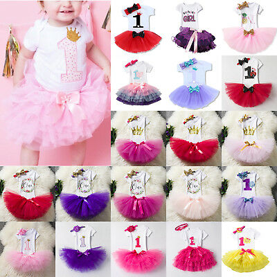 1st Birthday Girl Baby Princess Dress Romper Outfit Tutu Skirt Headband 3Pcs Set