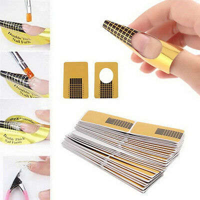 100Pcs Nail Art Tips Extension Forms Guide French DIY Tool Acrylic UV Gel YJ