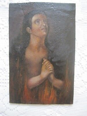 Original Vintage Retablo On Tin With Image Of Lonely Soul In Purgatory
