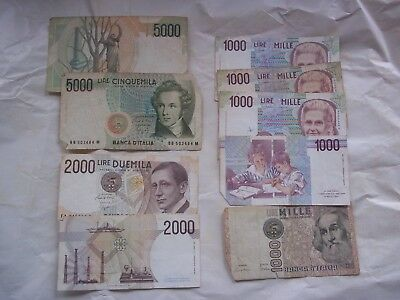 Italy assorted Lire banknotes and one Greek Drachmae one!